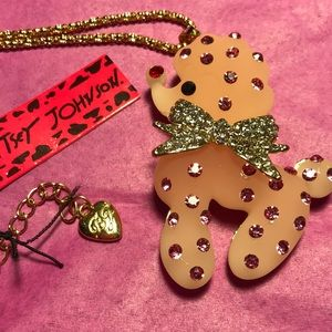 Betsey Johnson pink resin poodle necklace